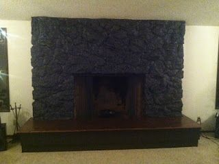 How to paint a Lava Rock fireplace! Best thing we ever did! @Barbara Barrett lungesandlemonsquares.blogspot.com
