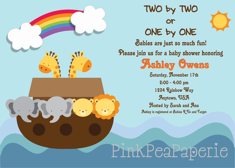 NOAH\'S ARK Baby Shower Invitation - Digital Printable. $8.00, via ...