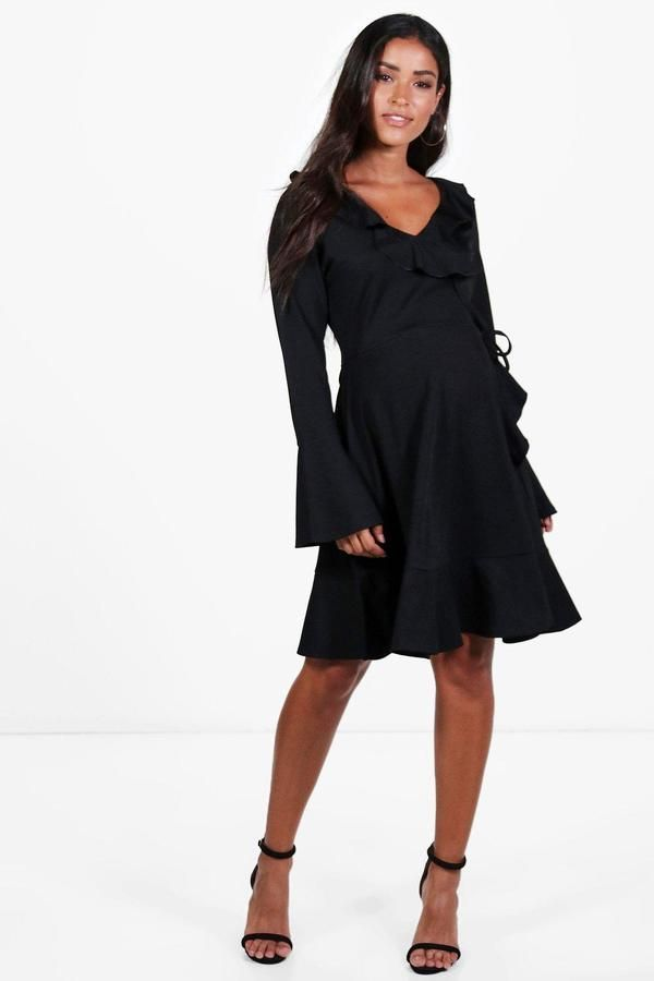 38f4c6a8aa866 Maternity Esther Long Sleeve Frill Wrap Dress | Products | Dresses ...