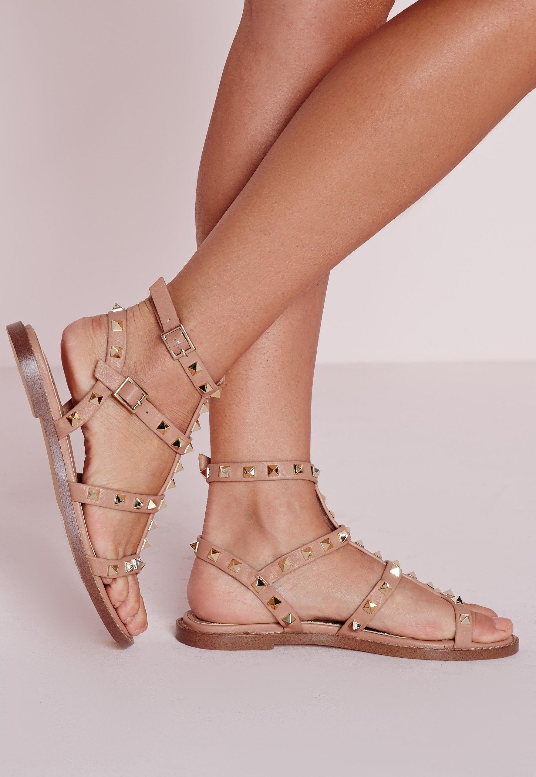 0dd49f728d6 Missguided - Studded Flat Gladiator Sandals Blush