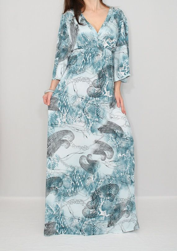 Long Blue Dress Paisley dress Kimono dress Maternity dress