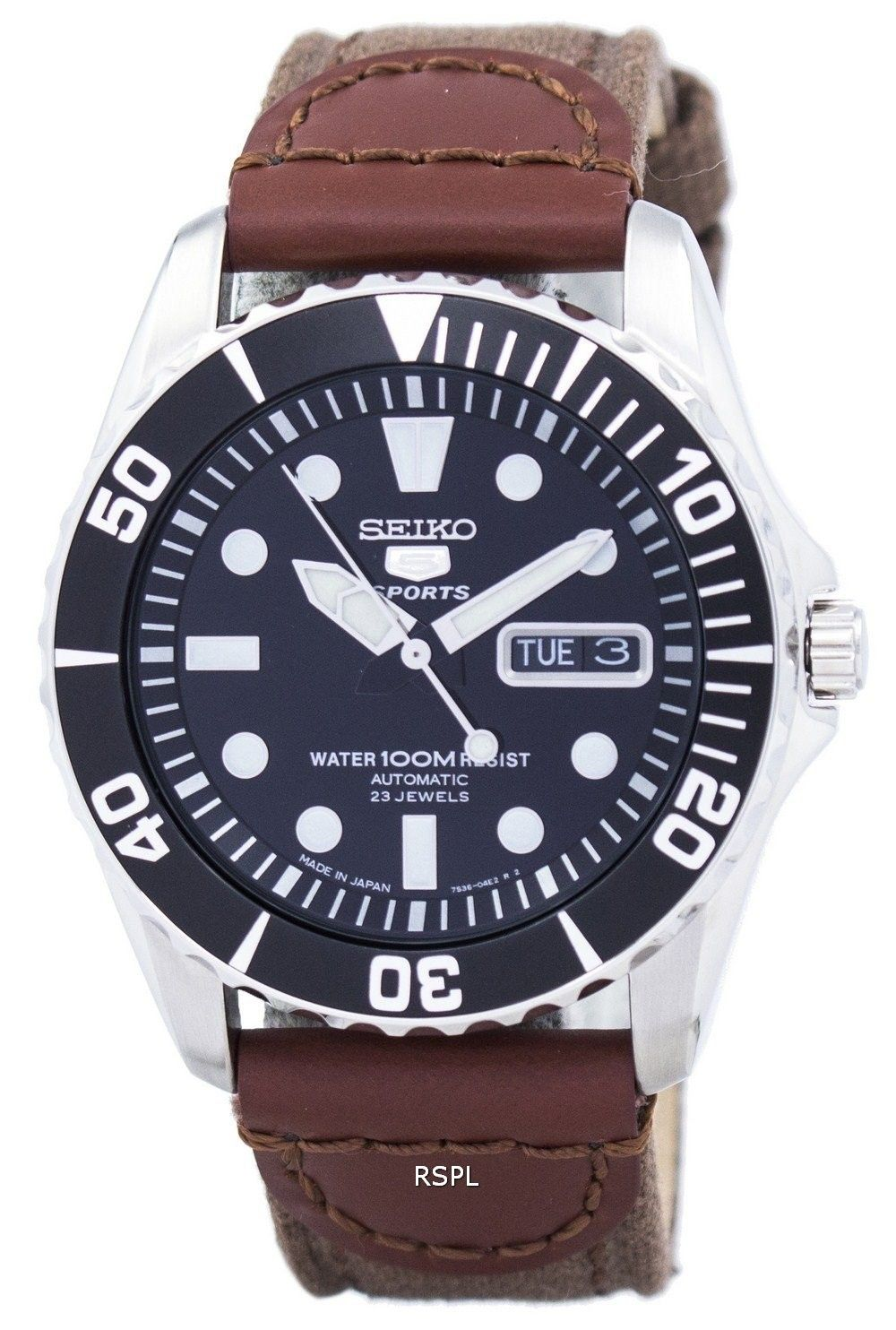 18ad274a1 Seiko 5 Sports Automatic 23 Jewels Canvas Strap SNZF17J1-NS1 Men's Watch