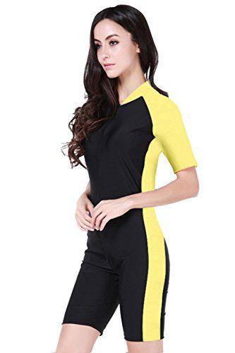 Women Short Sleeve Rash Guard One-piece Sun Protection Swimsuit Yellow  Micosuza http   www.amazon.com dp B00ZS2AM44 ref cm sw r pi dp NqP9wb10678B1 d8a649c1e