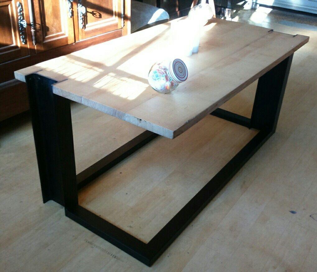 Table Basse Bois Metal Style Industriel Pied Ipn Massif
