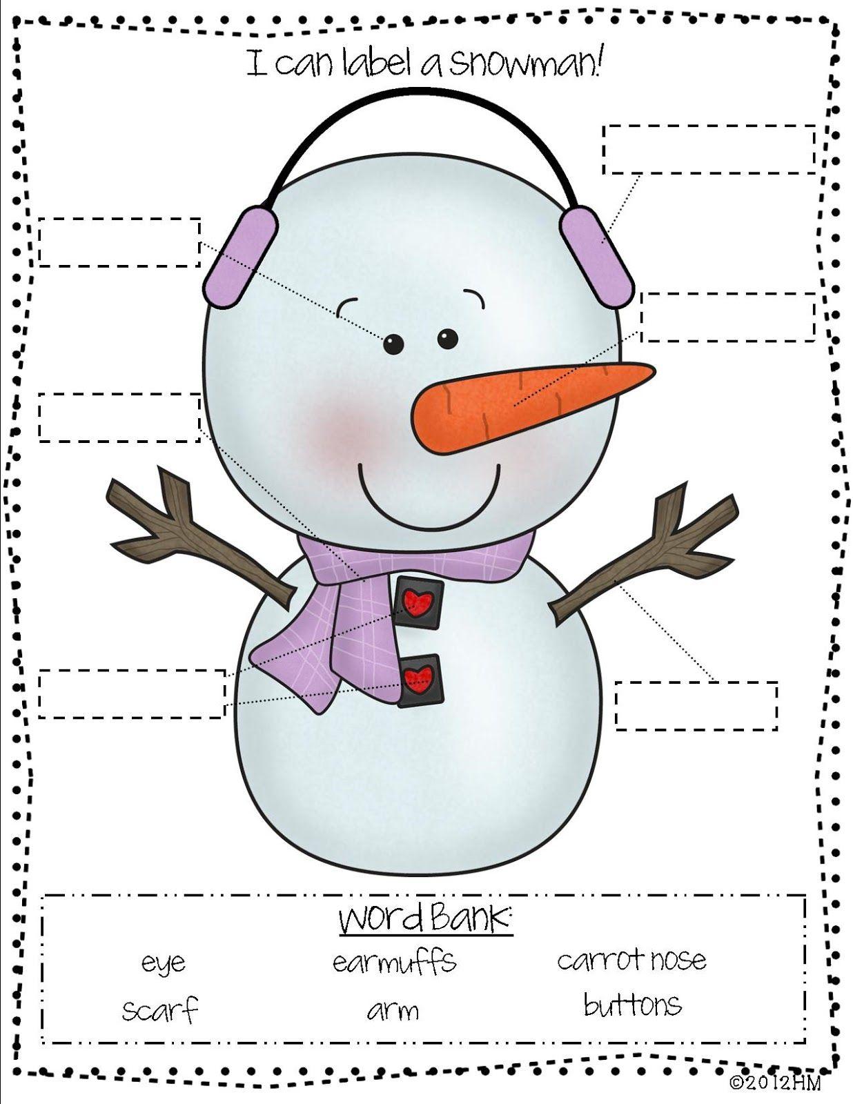 Collaborative Teaching Checklist ~ Winter math and literacy centers kindergarten labels