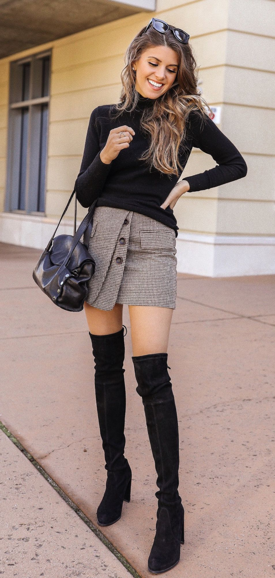 Black Knee High Boots Spring Outfits Spring Outfits High Knee Boots Outfit Knee Boots Outfit [ 2004 x 954 Pixel ]