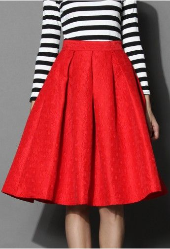 Jacquard Rose Pleated Midi Skirt in Red | Womenswear | Pinterest ...