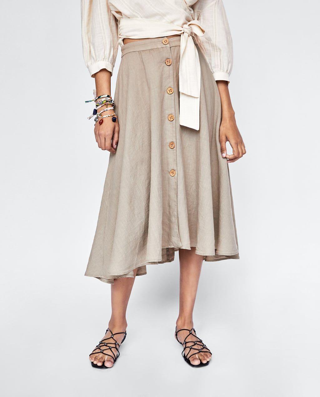 8dbf149b Image 2 of BUTTONED LINEN SKIRT from Zara | SPRING/ SUMMER | Linen ...