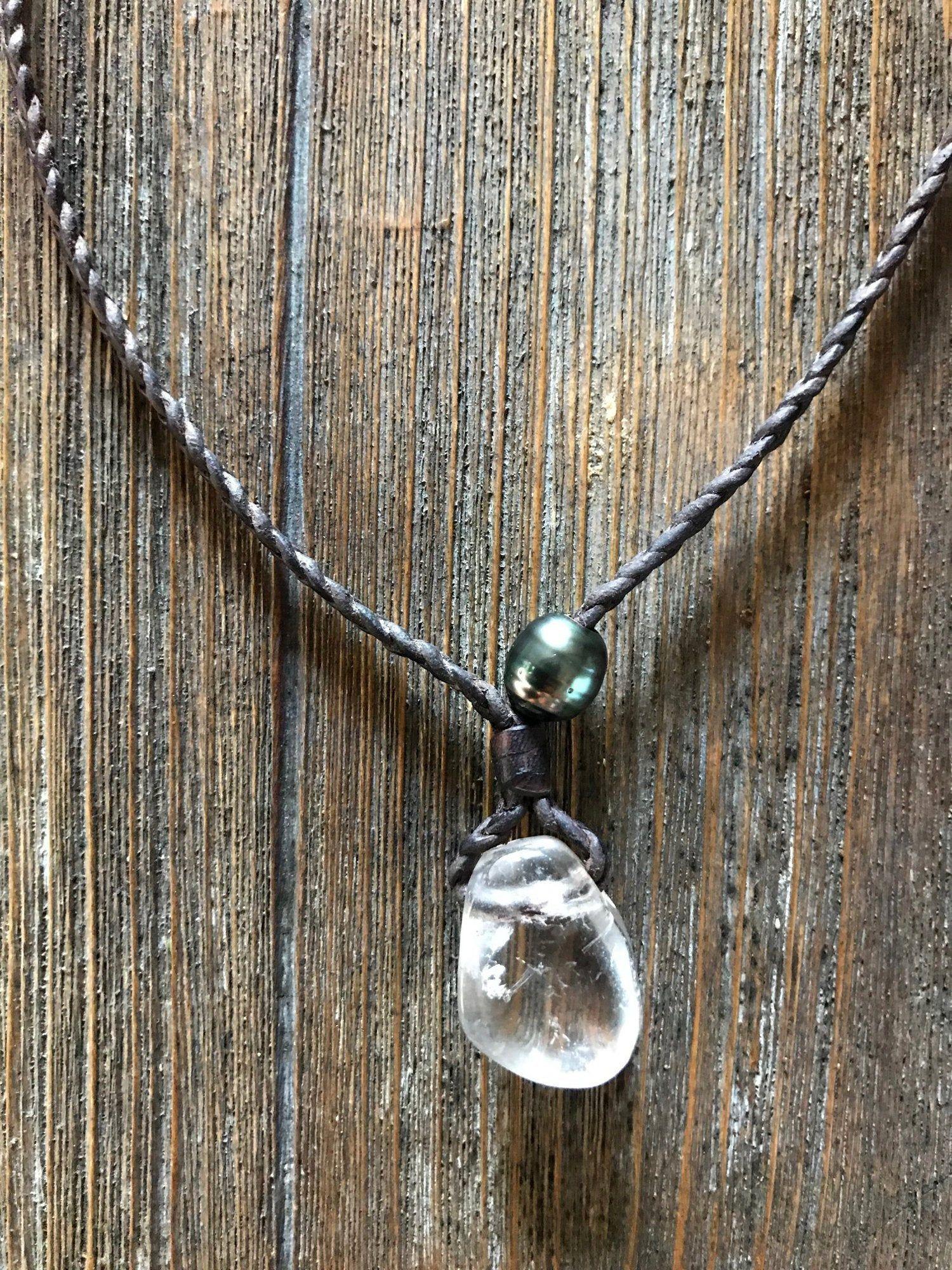 cristal de roche collier homme