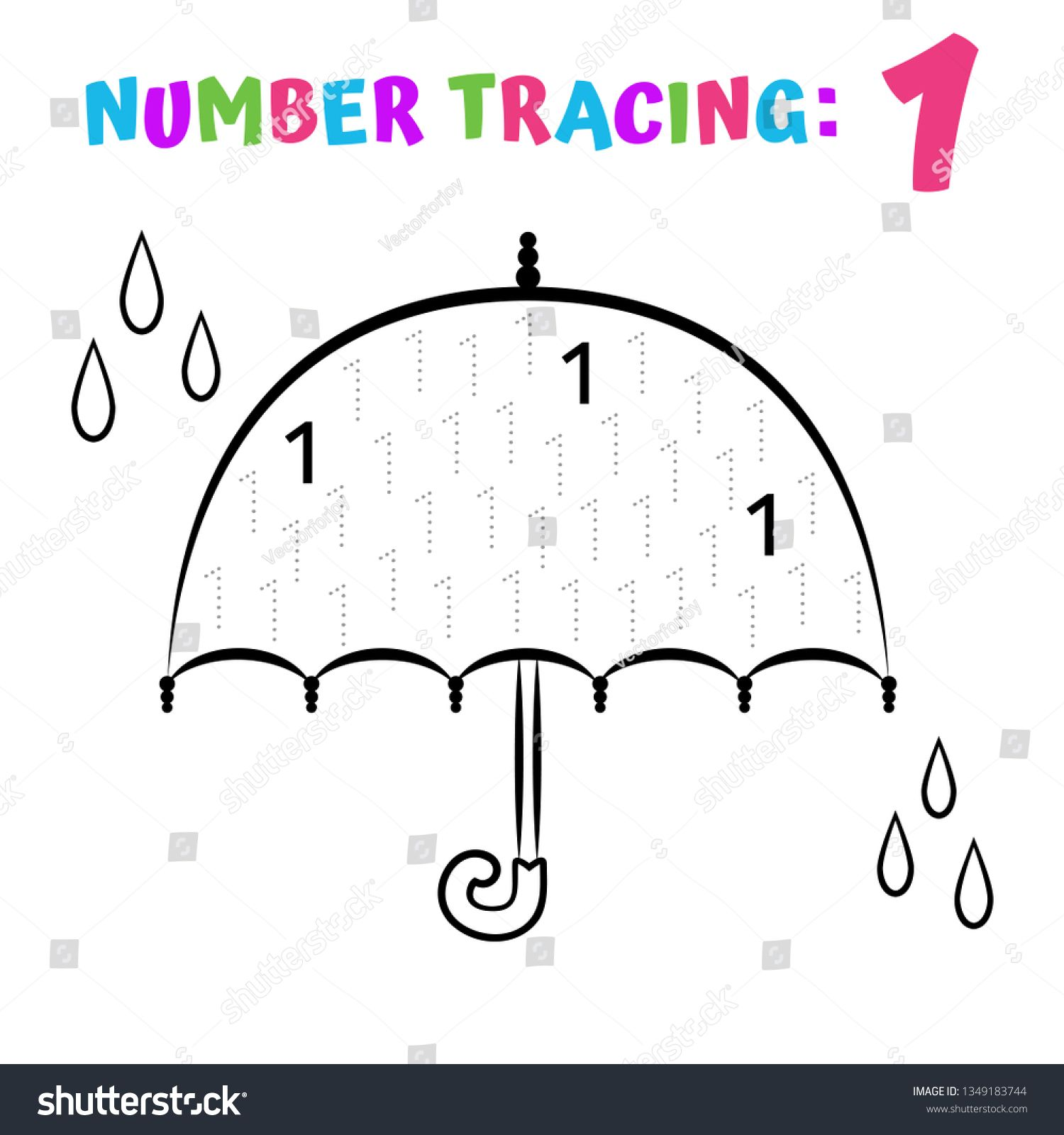 Number Tracing Worksheet. Coloring Book Page. Math Game ...