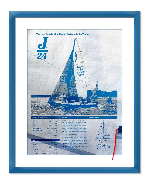 J24 Sailboat Screen Print Poster Printed On Used Sail
