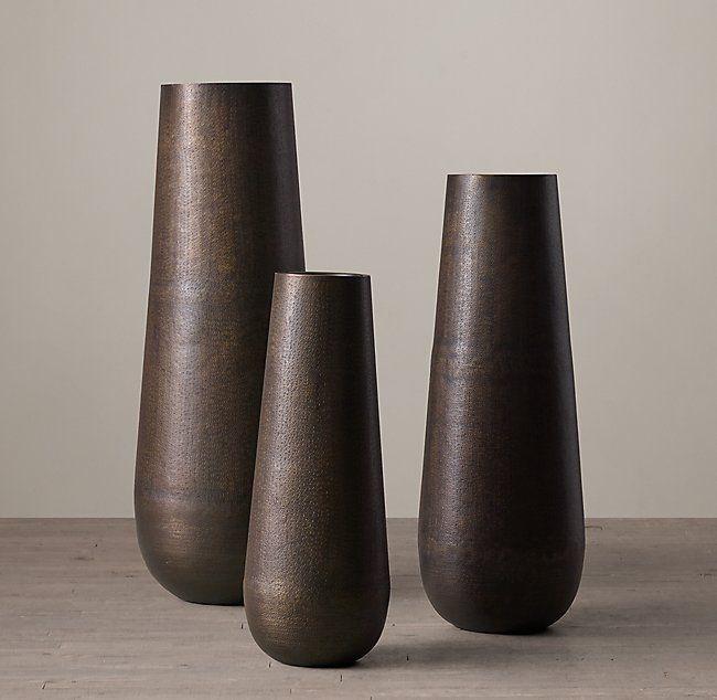 Grand Hammered Metal Floor Vase In 2020 Metal Floor Vase