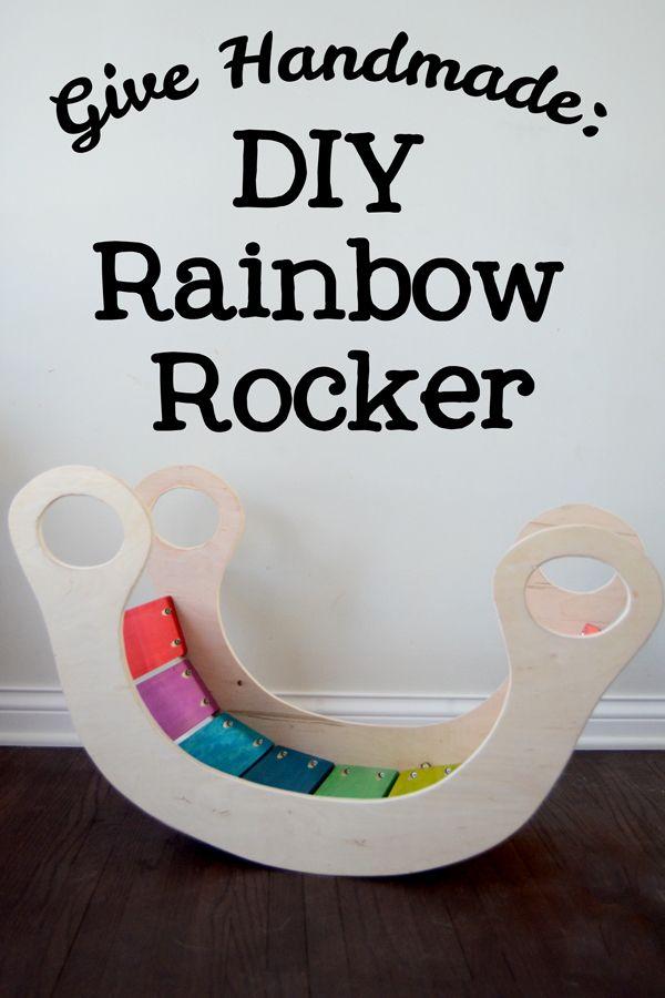 DIY Rainbow Rocker - Ramblings from the Burbs | Diy rainbow, Diy kids toys, Diy toddler