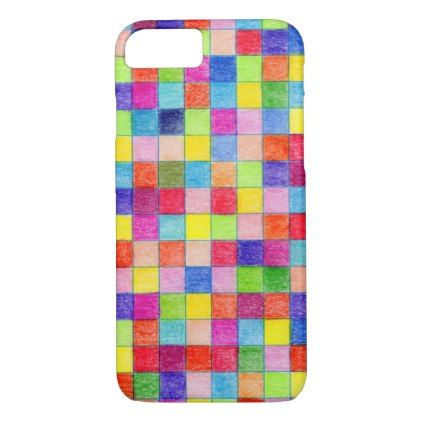 Colorful Colored In Graph Paper Squares Iphone  Case  Graph Paper