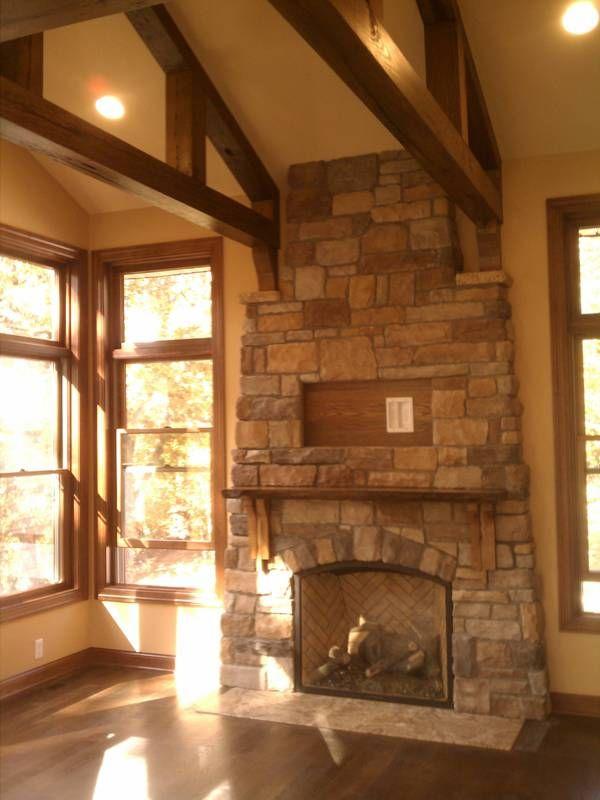 Reclaimed Wood Beams Vaulted Ceiling Great Room Meadow Creek