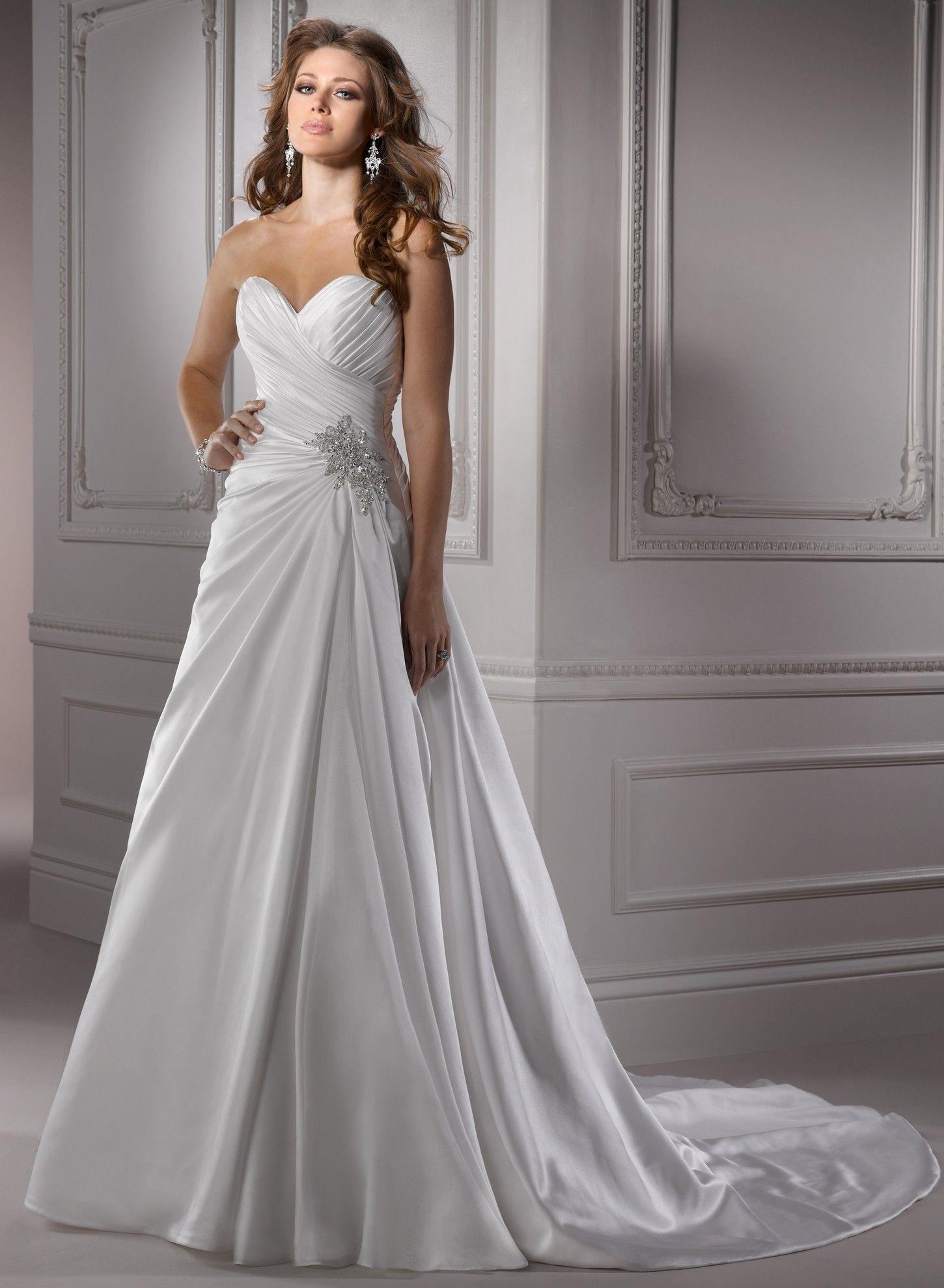 Amour Satin Sweetheart Neckline A Line Wedding Dress