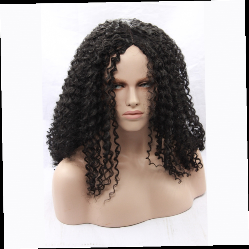 44.45$  Watch now - http://alics9.worldwells.pw/go.php?t=32712980279 - Long Black Synthetic Curly Lace Front Wigs Good Quality For Black Women Best Natural Looking Cheap Heat Resistant Synthetic Wigs