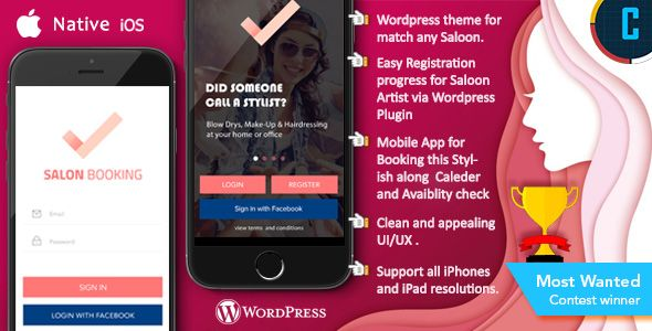 awesome Saloon Booking iOS Native App with Wordpress Plugin with ...