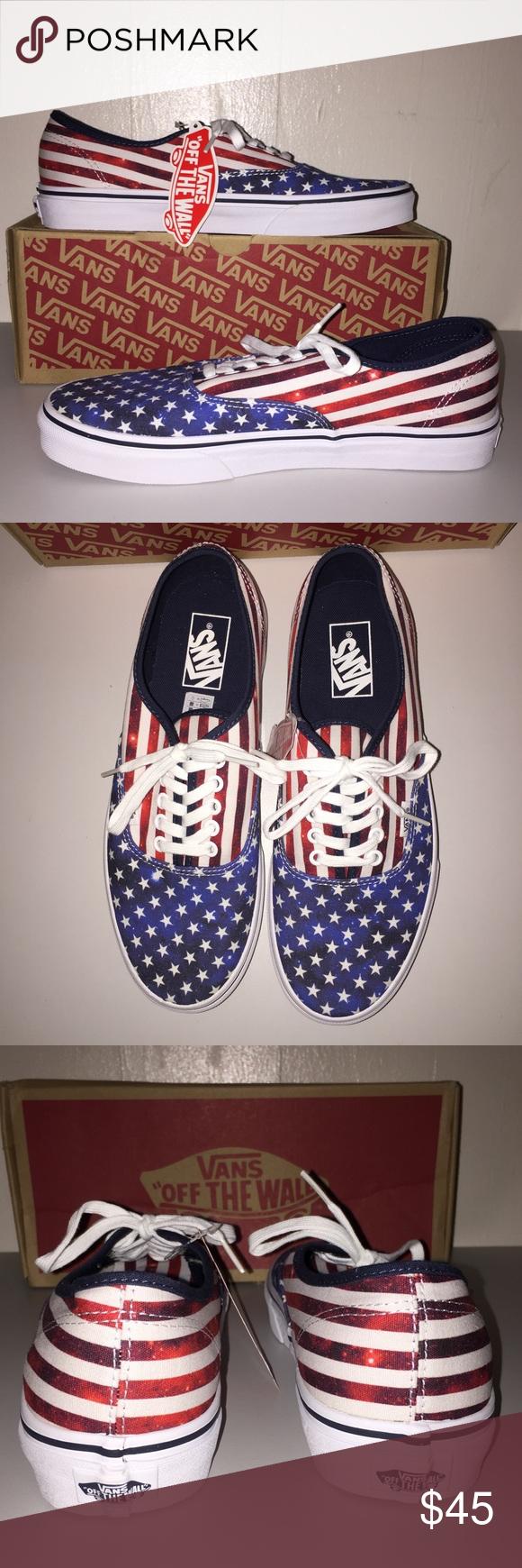 bfff27c479 NWT Vans Men s Authentic Americana Dress Blue Vans Authentic American flag  designed shoes⭐️These shoes