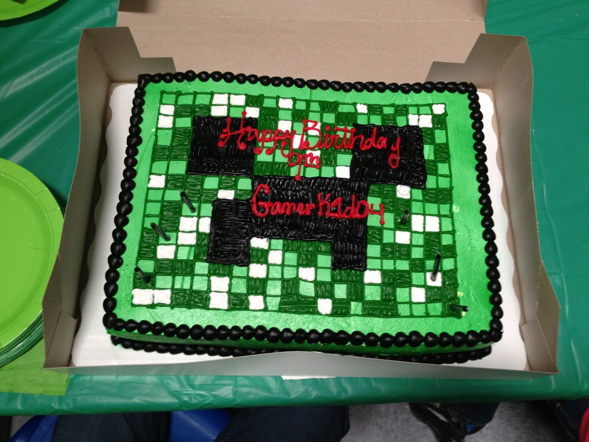 Ts Minecraft Birthday Cake Got It Made At Walmart A Little Messed Up Graphic Wisebut Everyone Still Loved Marble And Bavarian Cream Filling