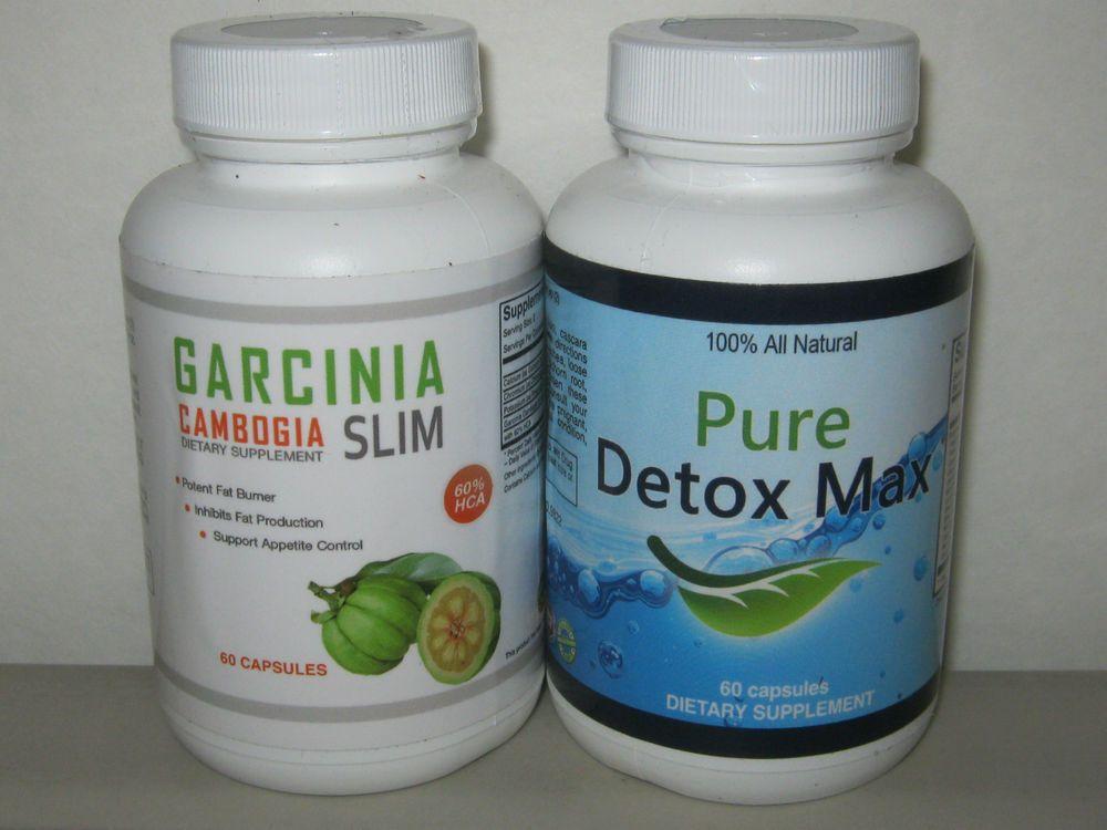 Garcinia Cambogia Slim 60 Capsules 60% HCA & Pure Detox Max 60 Capsules #GarciniaCambogiaSlimPureDetoxMax