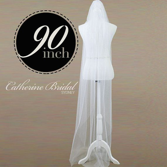 Single Tier 90 Cathedral Length Veil made from by CatherineBridal, $108.00