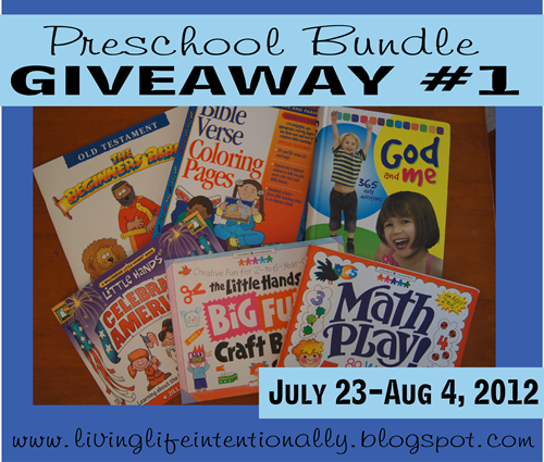 {free} Preschool Bundle Giveaway (6 books). Anyone can enter July 23rd - August 4th, 2012 at www.livinglifeintentionally.blogspot.com