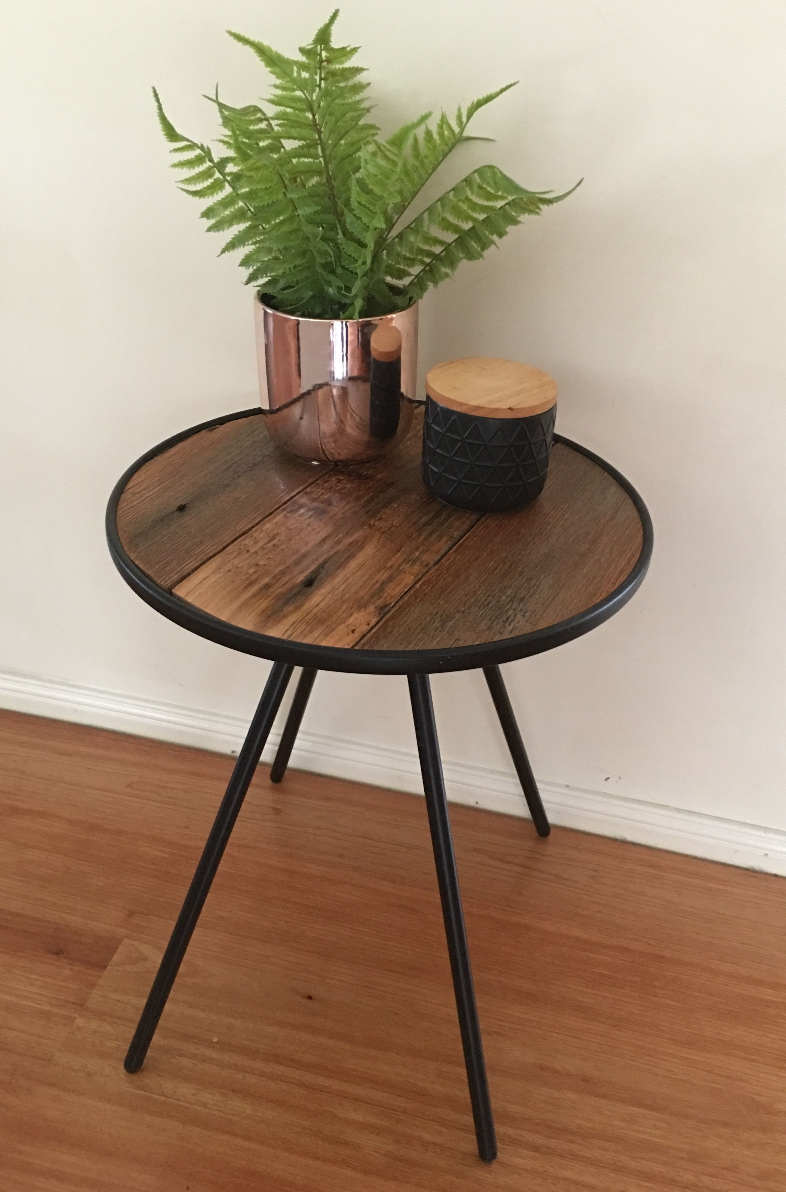 Recycled Timber Industrial Round Side Table Made By Recycledtimberfurnitureozcom