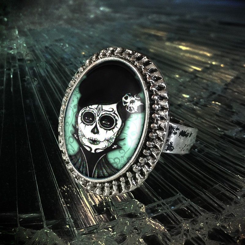 Dia De Los Muertos Dead Girl Gothic Horror Tattoo Antique Silver Ring created by Kasket Kustoms for sale at MoreThanHorror.com