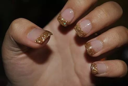 French Tip With Gold Glitter