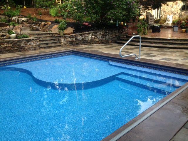 Tanning Ledge With Steps Pool Backyard Pool Pool Patio