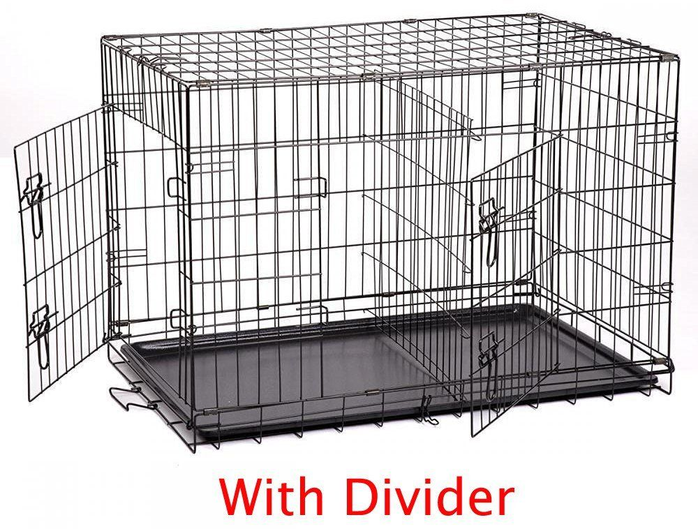 3 Size New Folding Pet Dog Cat Crate Cage Kennel With Divider And