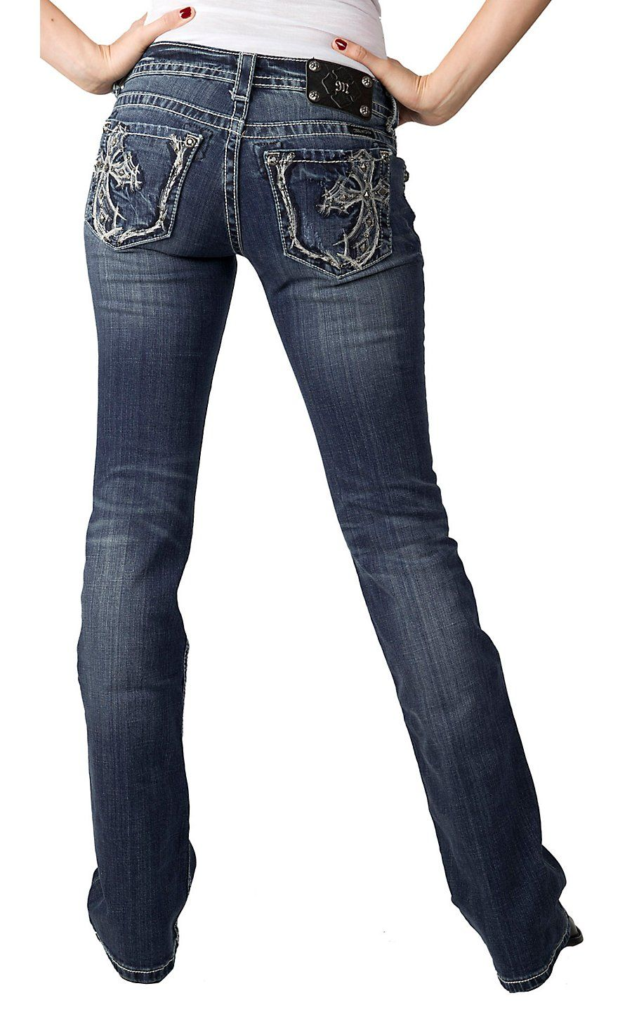 Miss Me® Ladies Fancy Cross Embroidery with Studs and Crystals Boot Cut Jean - Extended Sizes | Cavender's Boot City
