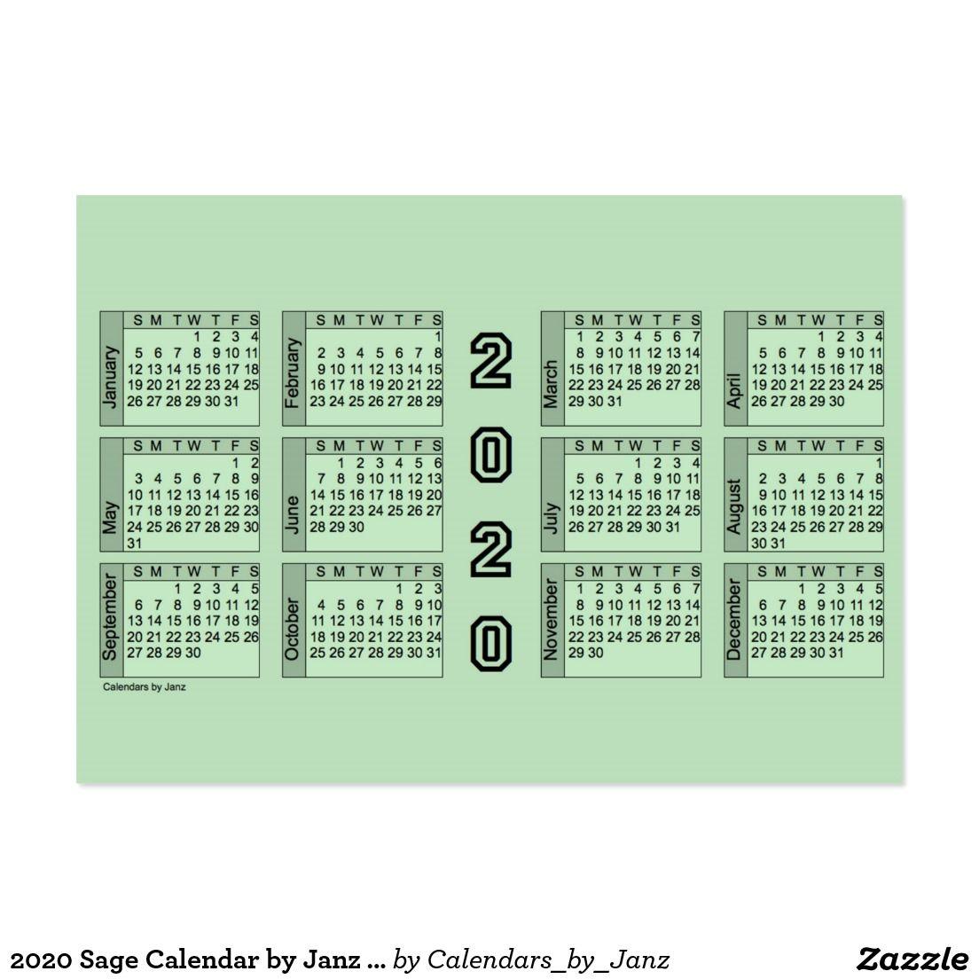 Calendar 2020 Business Card July December Create your own Profile Card | Zazzle.| Calendars by Janz