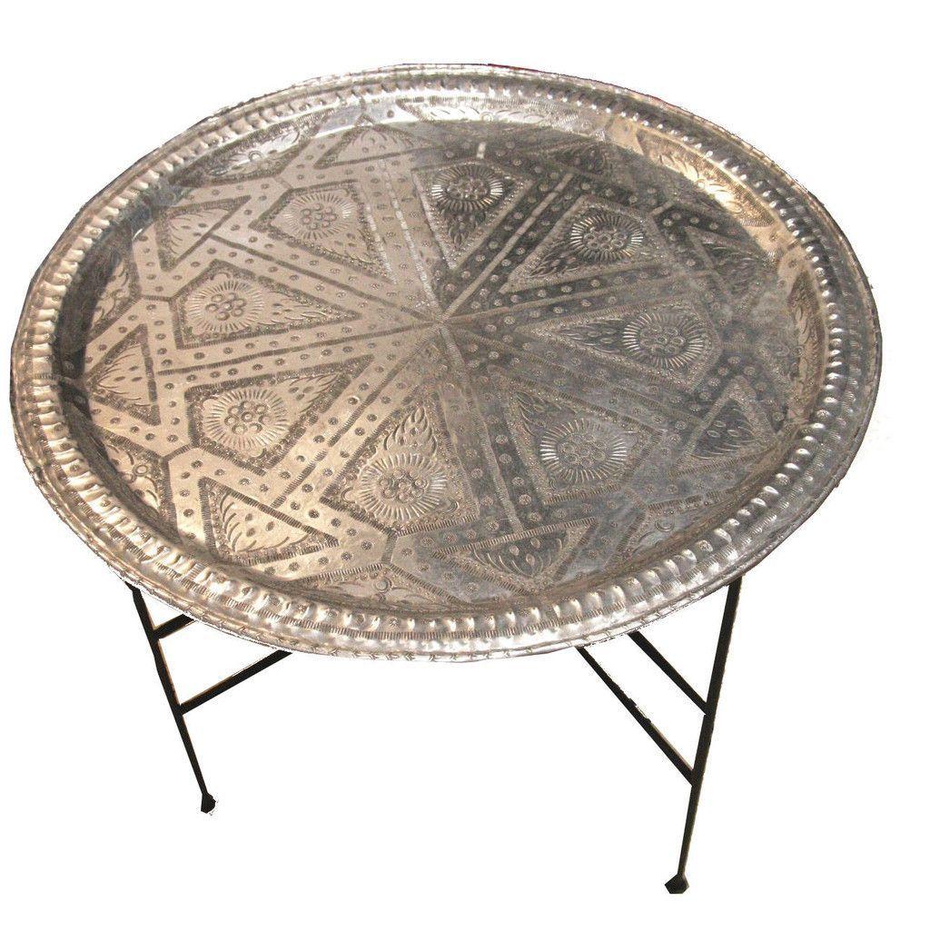 Moroccan Aluminum Tray Silver Coffee Table Moroccan Home Decor