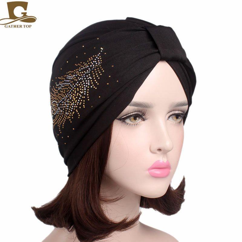 b24e1ceeca2 New elegant feather diamante bamboo fiber turban chemo cap women hat  headwrap