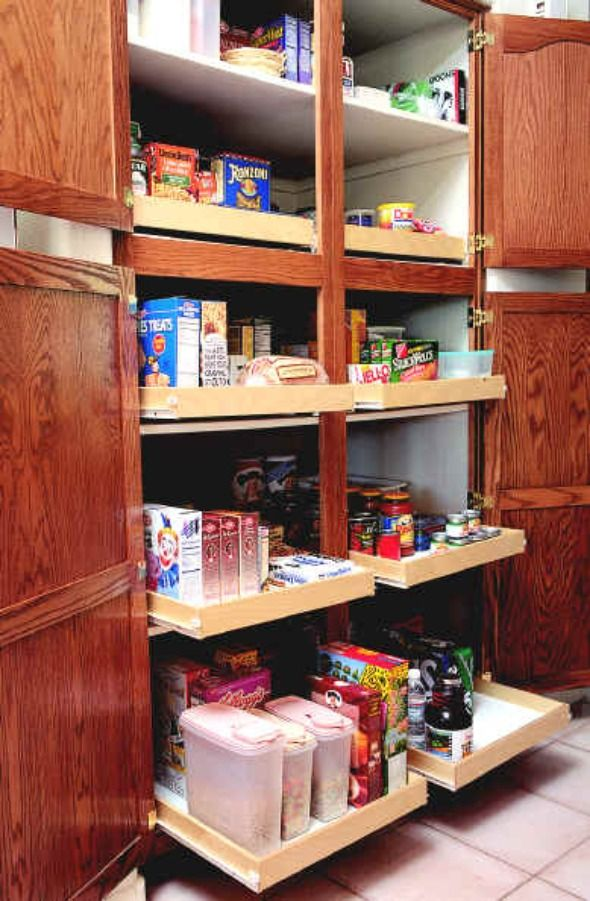 Pantry Cabinet Design With Double Roll Out Shelves