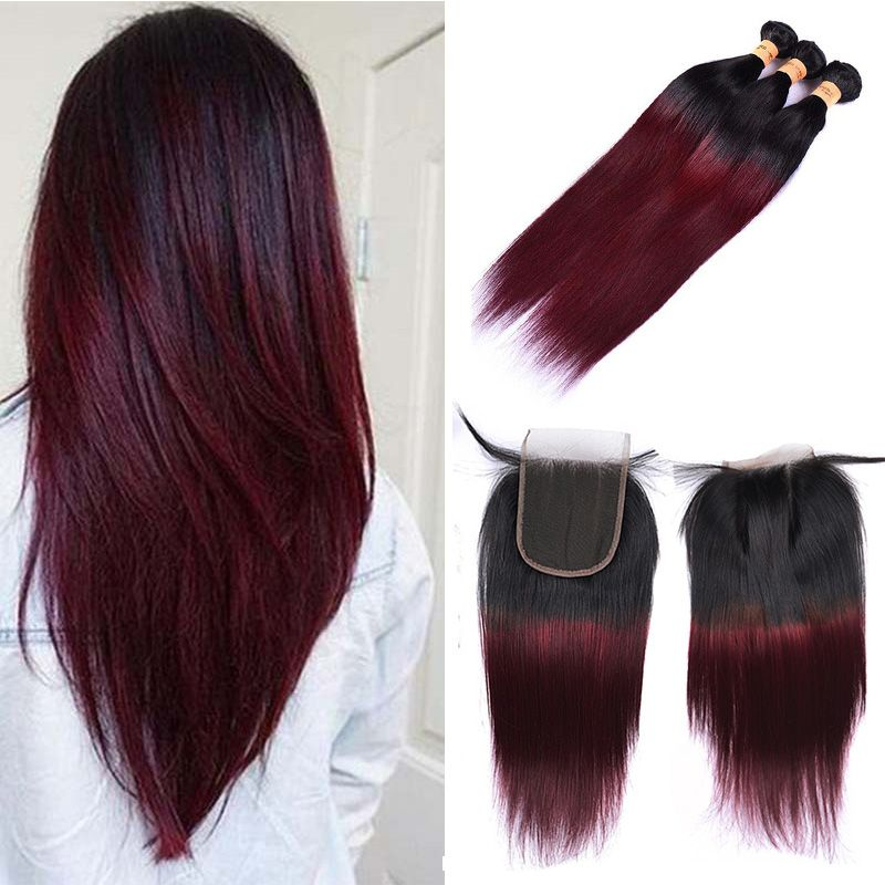 Brazilian Ombre Burgundy Human Hair Bundles With Closure Colored