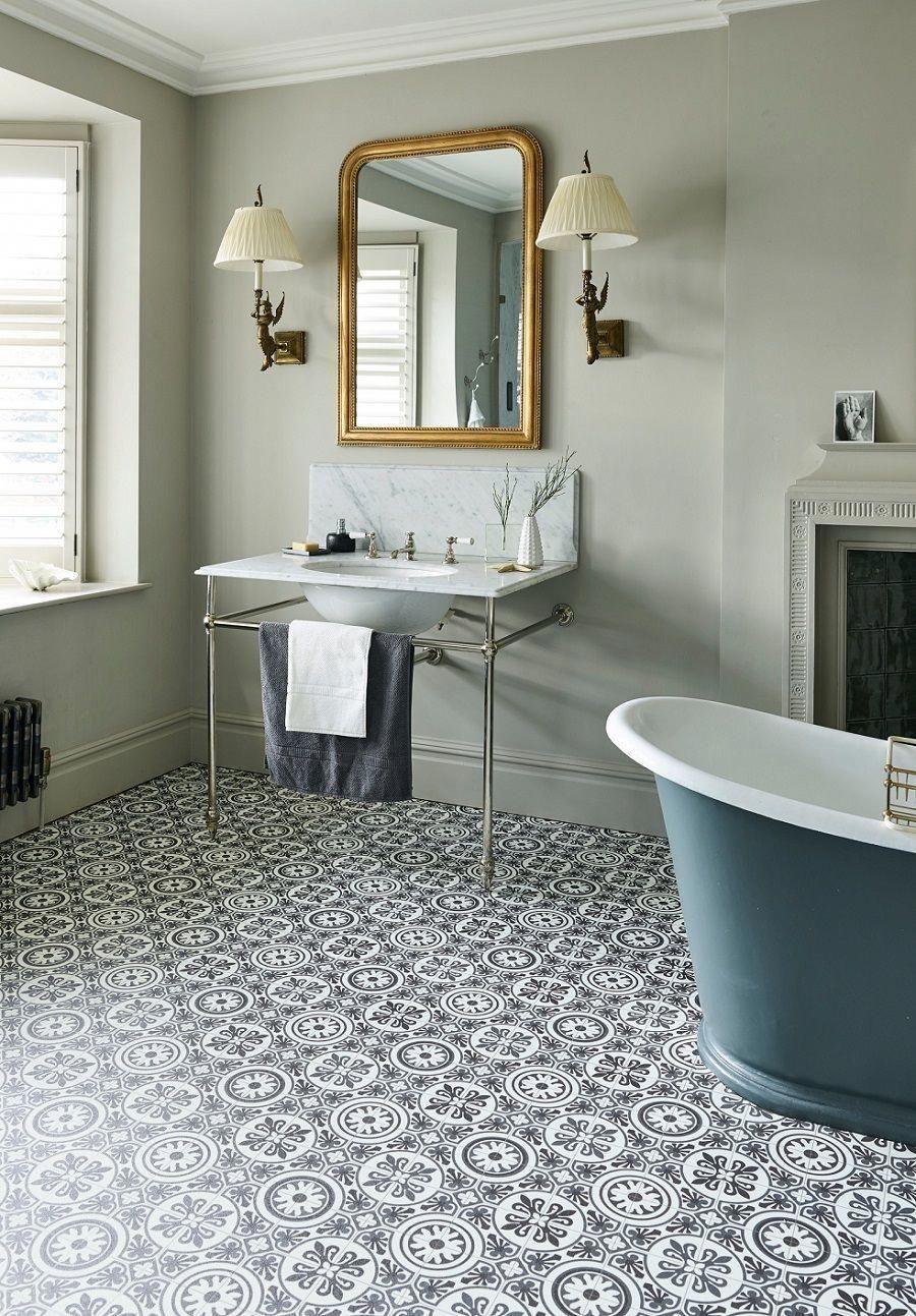 Fake It With Patterned Vinyl Floor Tiles Bathroomtiles Bathroom Vinyl Vinyl Flooring Bathroom Bathroom Flooring