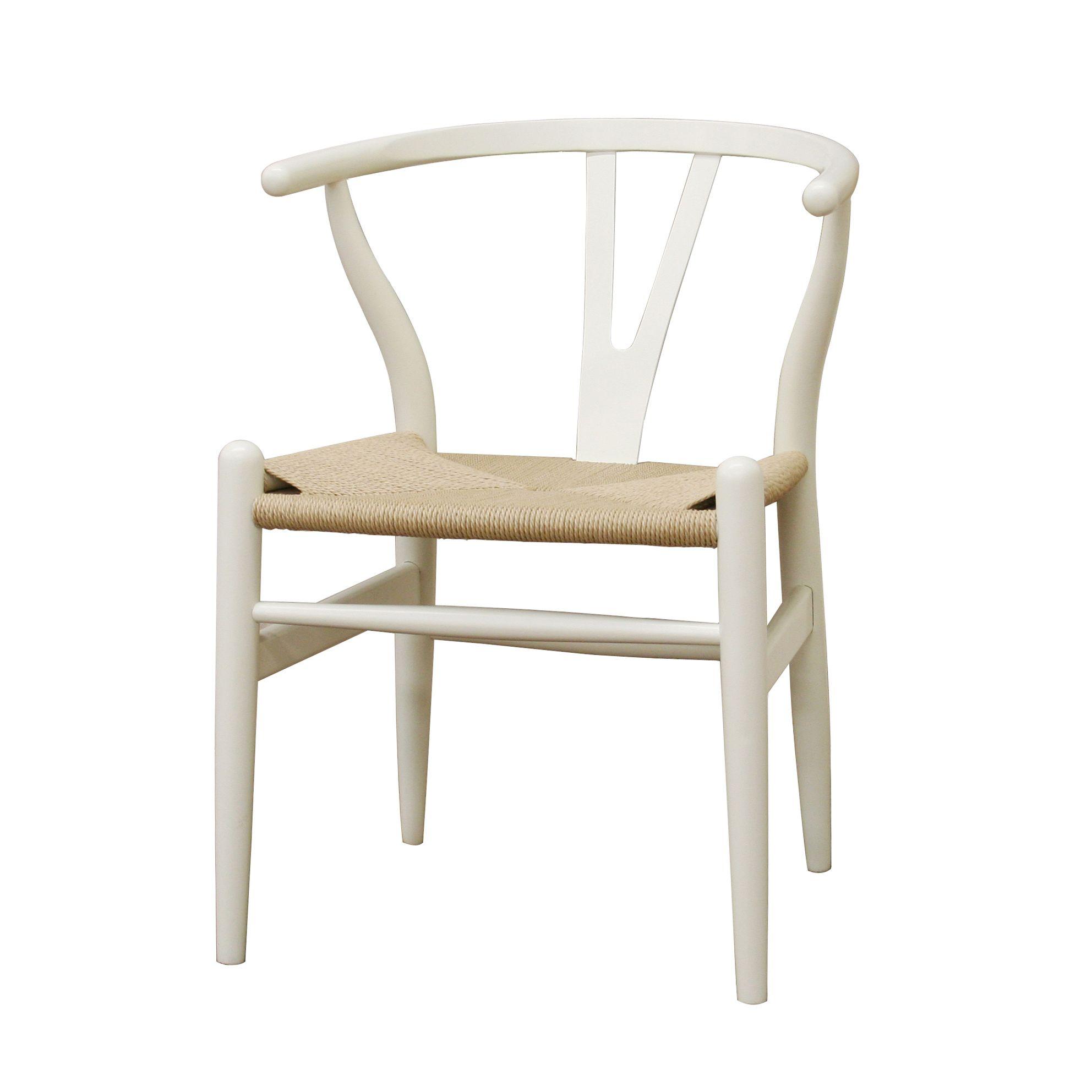 Baxton Studio Wishbone Modern White Wood Dining Chair with Light ...