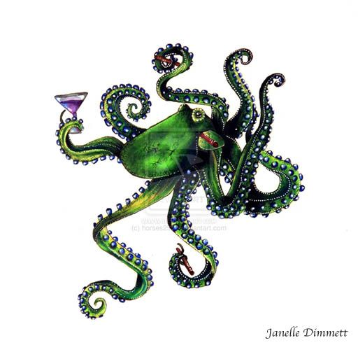 Happy Hour Octopus with Martini. Traditional Media.   Colored Pencil and Marker.   Janelle Dimmett 2014
