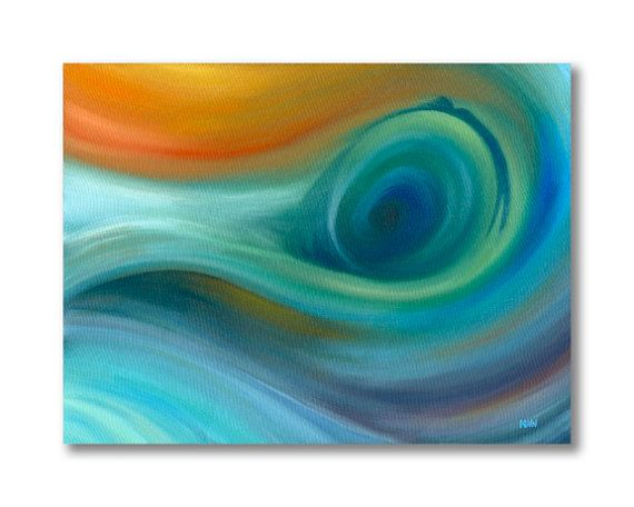 Items similar to Abstract seascape painting on canvas Abstract original oil painting Abstract wave painting in blue and green Contemporary canvas wall art on Etsy