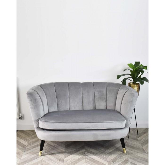 Light Grey Scalloped Velvet Sofa In 2020 Velvet Sofa Velvet Sofa Living Room Blue Velvet Sofa