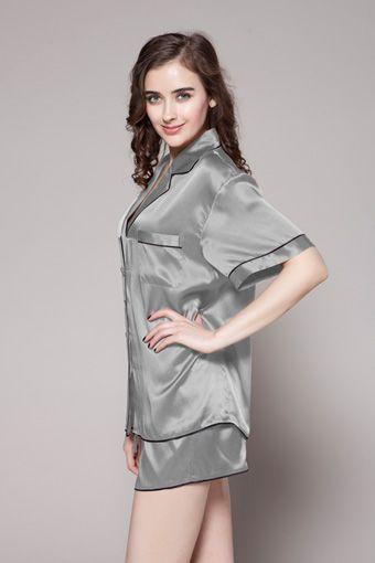 7741590fa7 Custom plus size short silk pajama set are on sale in two piece set in  silvergray color.  95  pajamas  silk  lilysilk