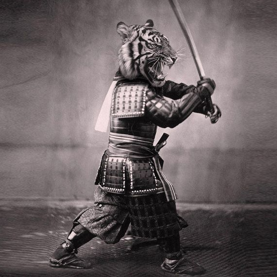 Samurai Tiger Shower Curtain Printed in USA by sharpshirter