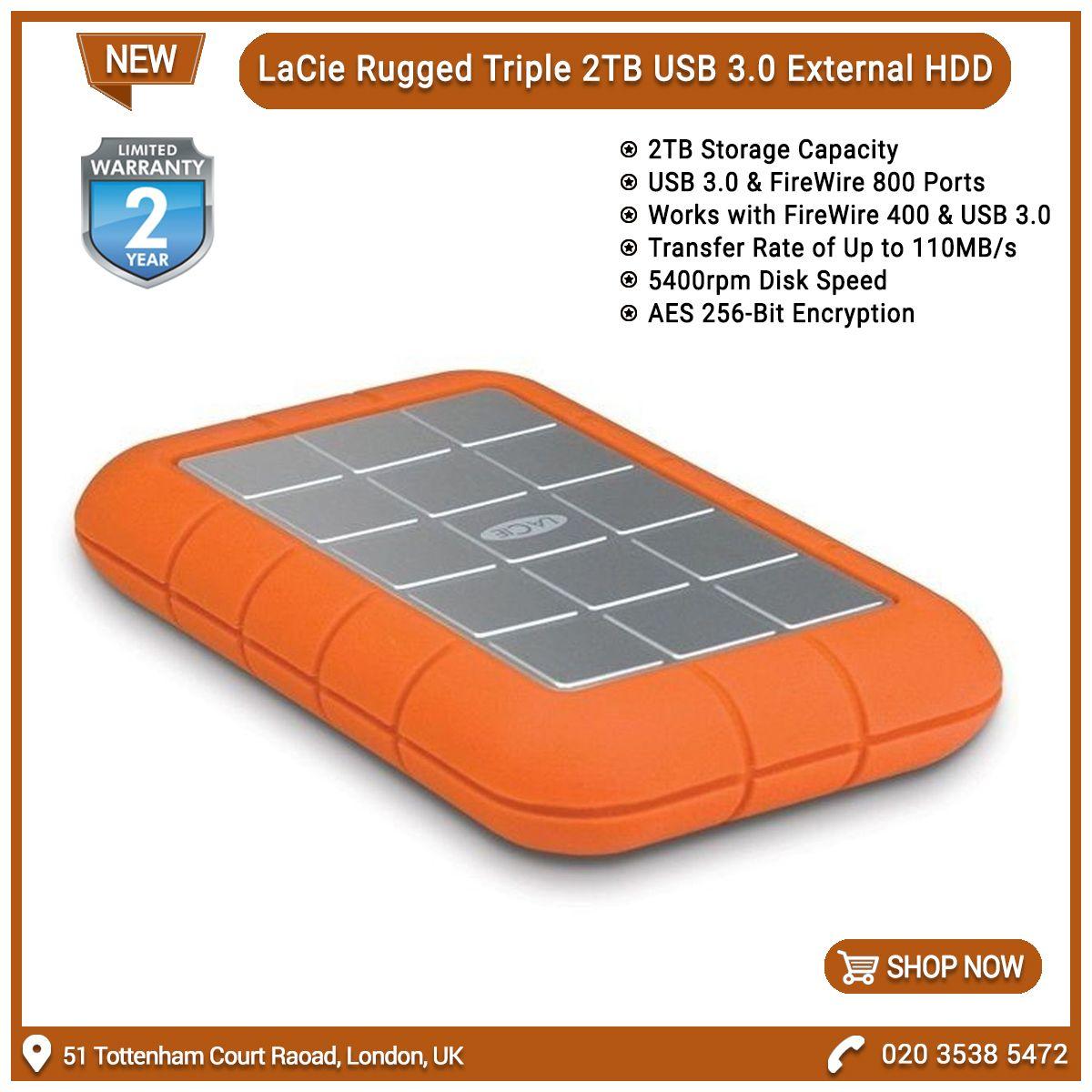 Lacie 9000448 Rugged Triple Usb 3 0 2tb 5400rpm External