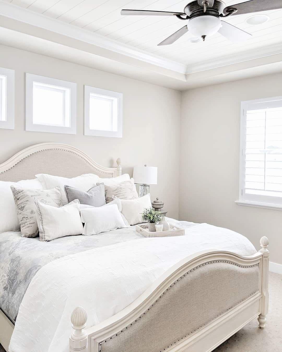 3 window bedroom  headboard neutral master bedroom pottery barn bedding ceiling