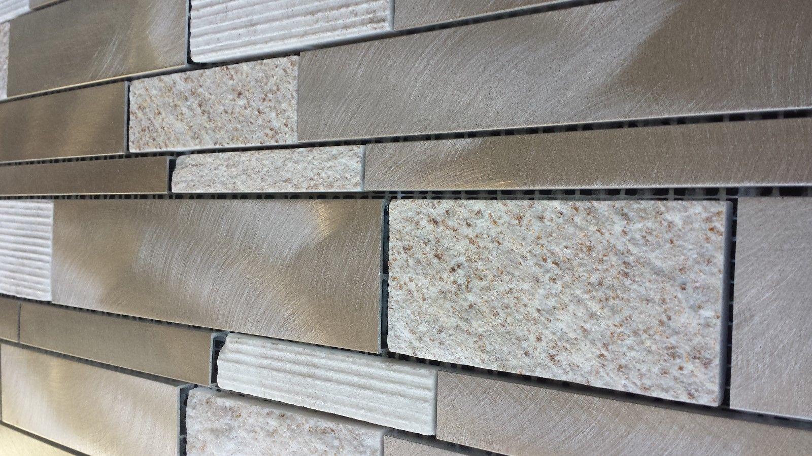 Brushed Aluminum Tile Textured Gold Quartz Tile Kitchen Tile