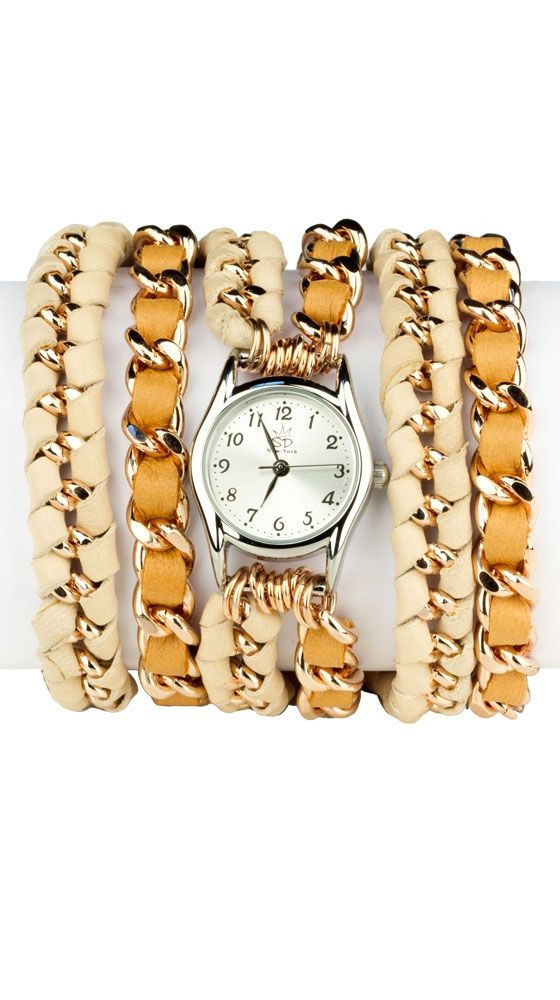 by Sara Designs  Small Face, Lamb Leather Wrap Watch - Natural