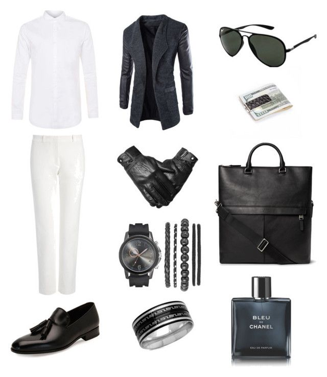 """""""Décontractée"""" by morgan-defstyle on Polyvore featuring Salvatore Ferragamo, Ray-Ban, SteelTime, Chanel, Topman, Joseph, men's fashion and menswear"""